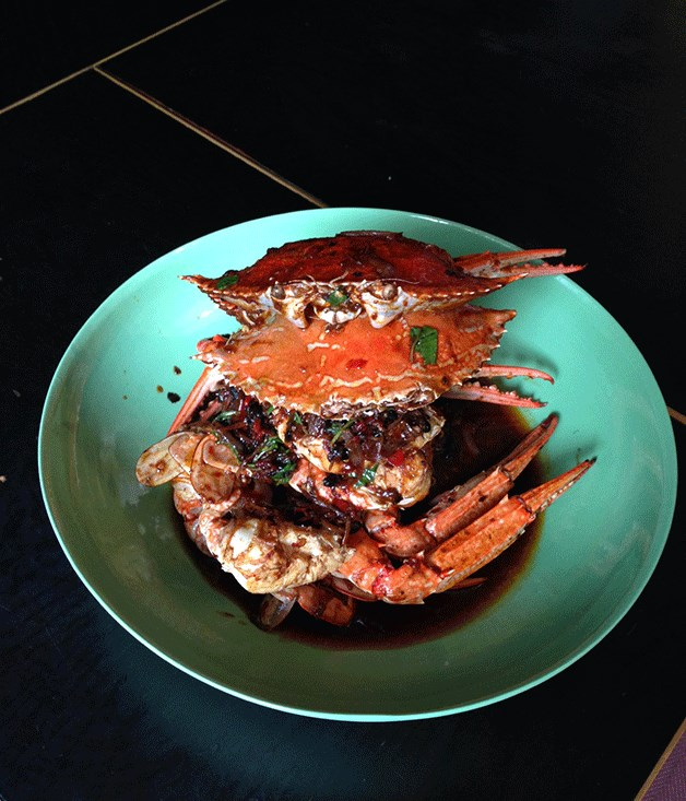**STIR-FRIED BLUE SWIMMER CRAB WITH SALTED BLACK BEAN, CHILLI AND NATIVE BASIL**