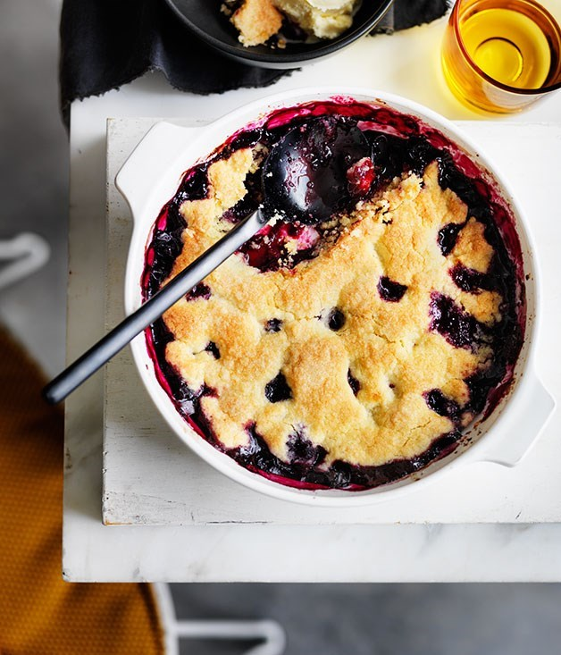 **BLUEBERRY COBBLER WITH ICE-CREAM**