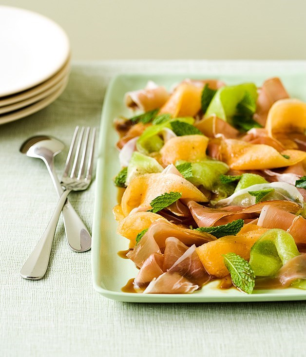 **Rockmelon, mint and prosciutto salad with Pedro Ximénez syrup**