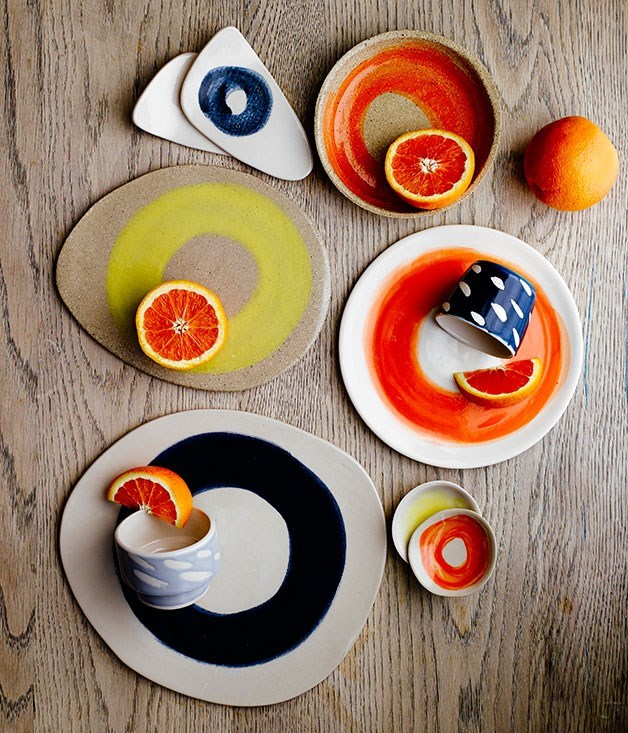 "**Marloe Morgan** Marloe Morgan's high-fired, hand-thrown stoneware is made in northern New South Wales. From shallow bowls awash with popping orange and yellow, to organic-shaped platters and high-gloss rain-print sake cups - each piece is designed with sharing, entertaining and everyday use in mind. Plus her bespoke service allows you to have a piece designed and produced in Australia, exactly to your specifications.   _Marloe Morgan ceramic homewares, from $18, [marloemorganceramics.com.au](http://www.marloemorganceramics.com.au/ ""Marloe Morgan Ceramics"")_"