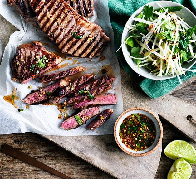 Char-grilled sirloin with green papaya and jaew