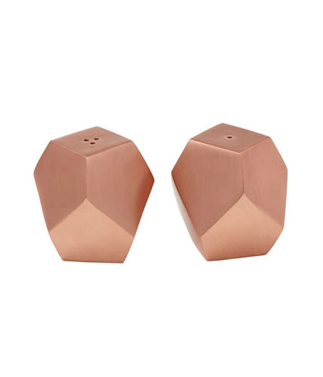 "**Amalfi Geo Salt & Pepper shaker set** These copper-finished shakers will spice up your dining table in all the right ways. _$34.95, [kitchenwarehouse.com.au](http://www.kitchenwarehouse.com.au/ ""Kitchenwarehouse"")_"