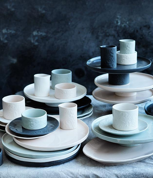 """**Gourmet Traveller Signature Collection by Robert Gordon** This year, _Gourmet Traveller_ teamed up with the crockery masters at Robert Gordon to develop a collection of cake stands, plates, platters, creamers and ramekins. Of course we'd like you to enjoy the entire collection but if you're working to a budget, why not opt for a statement piece this Christmas? _Starting at $30, [domayneonline.com.au](http://www.domayneonline.com.au/ """"Domayne Online"""")_"""
