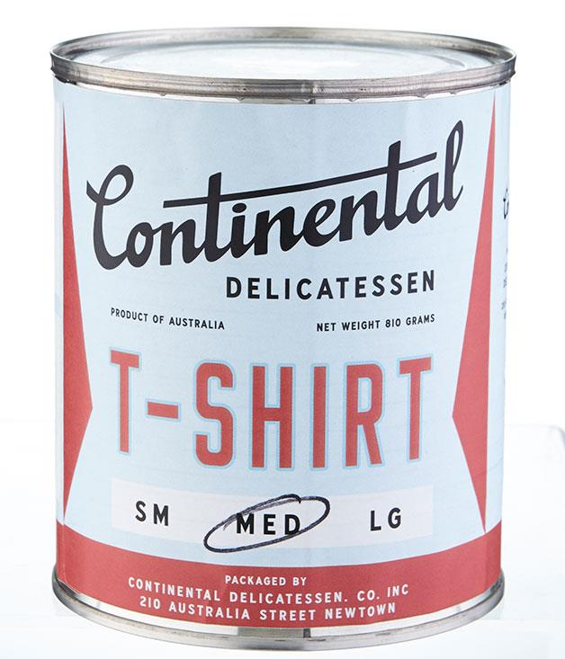 """**Continental Deli T-shirt** Newtown's Continental Deli has proven that there's a lot more to canning than tuna and tomatoes. The latest to their range is a canned Continental T-shirt which is bound to fit snugly into the Christmas stocking. _$25, [continentaldelicatessen.com.au](http://continentaldelicatessen.com.au/ """"Continental Deli"""")_"""
