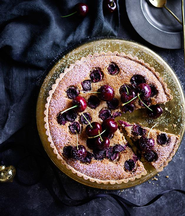 "**[Cherry, almond and burnt-butter tart](https://www.gourmettraveller.com.au/recipes/browse-all/cherry-almond-and-burnt-butter-tart-12398|target=""_blank"")**"