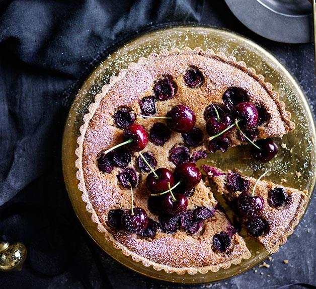 Cherry, almond and burnt-butter tart