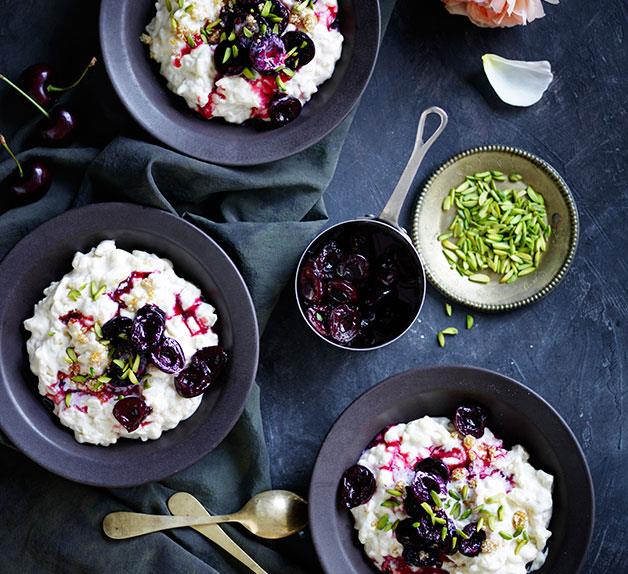 Chilled rice pudding with roasted cherries and pistachio