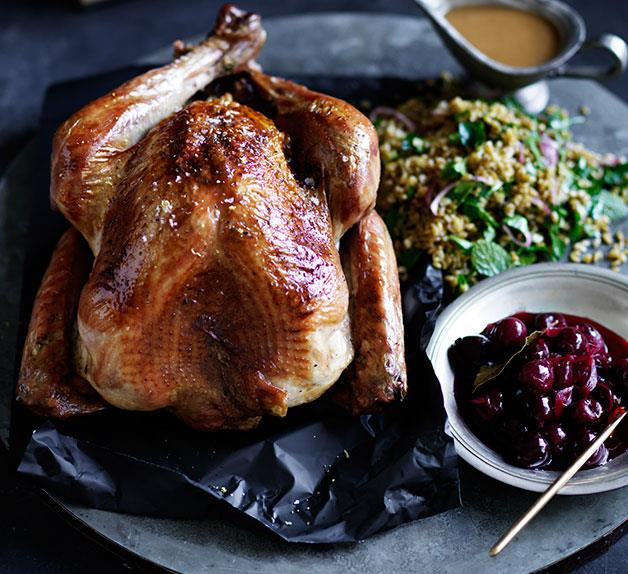 Roast turkey with sour-cherry stuffing and pickled cherries