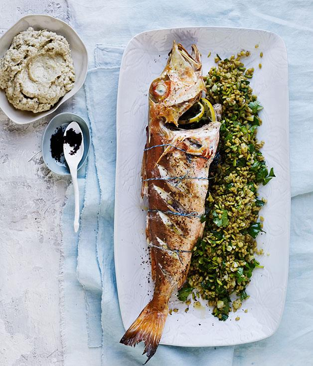 "**[Roasted gurnard with smoky eggplant, farro and boiled lemon](https://www.gourmettraveller.com.au/recipes/browse-all/roasted-gurnard-with-smoky-eggplant-farro-and-boiled-lemon-12404|target=""_blank"")**"