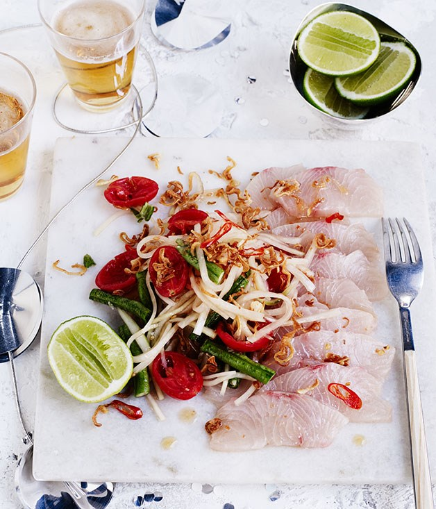 Raw mahi mahi with green papaya, lime and chilli