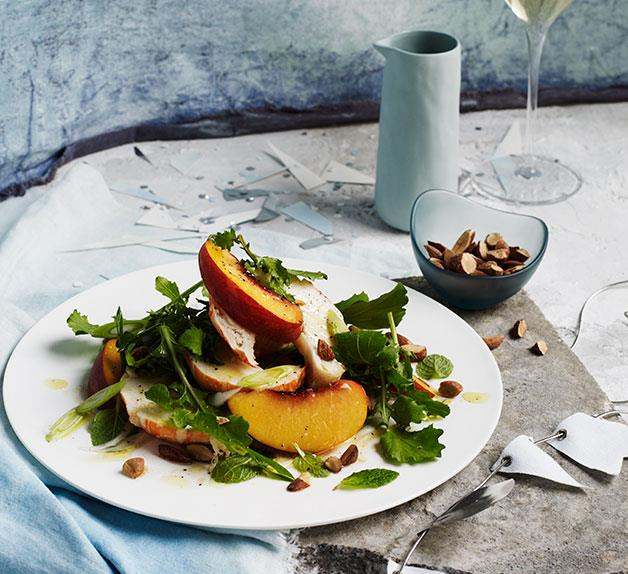 Lobster, peach and mint salad with smoked almond
