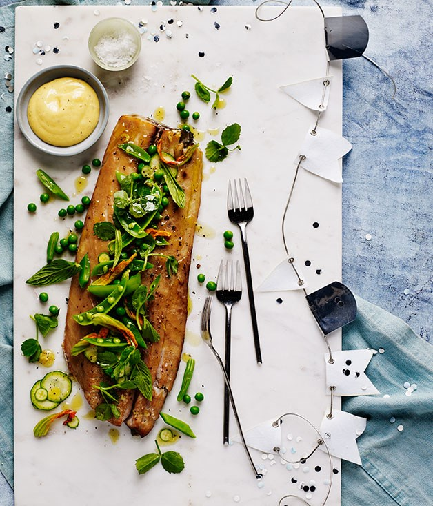 Hot-smoked mullet with zucchini flowers, peas and mint