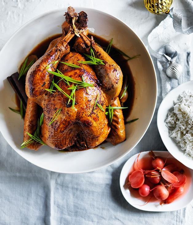 "**[Red-braised turkey with pickled radishes](https://www.gourmettraveller.com.au/recipes/browse-all/red-braised-turkey-with-pickled-radishes-12410|target=""_blank"")**"