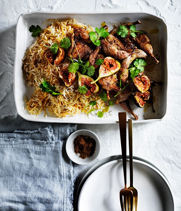 Spice-crusted quail with buttered rice and figs