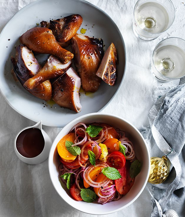 Hot-smoked chicken with marinated tomatoes