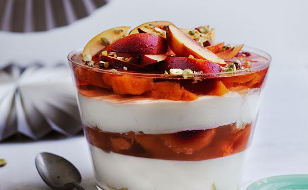 Nectarine, muscat and yoghurt trifle