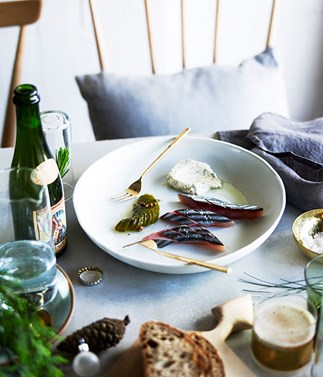 Raw mackerel, Lower East Side sours and caraway sour cream