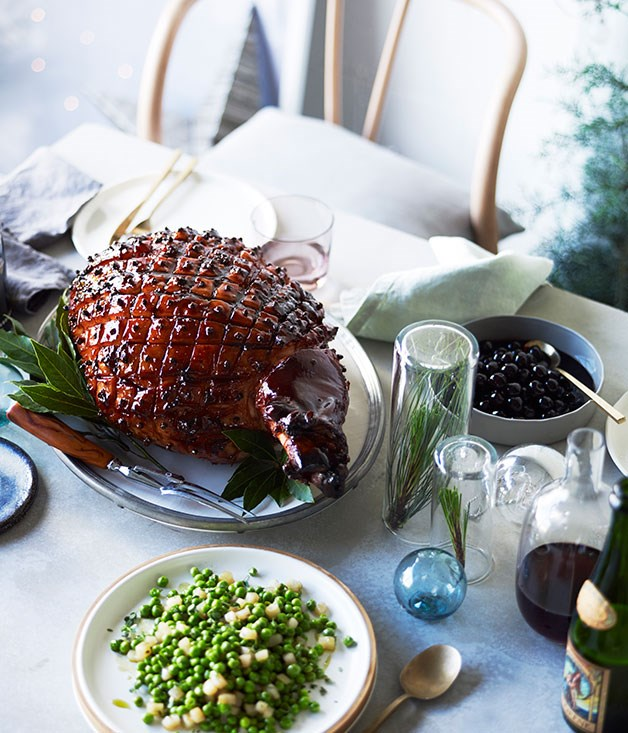 Whiskey-glazed ham with preserved cherries
