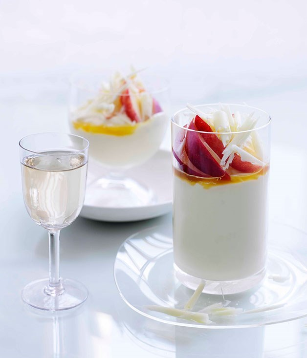 **White Chocolate And Crème Fraîche Mousse With Passionfruit Syrup**