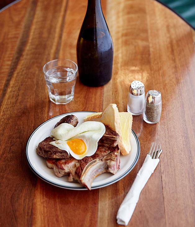 **** The Unicorn's mixed grill with a kurobuta chop, Cowra lamb chop, calf's liver, rissole, fried egg and old-school buttered white bread.