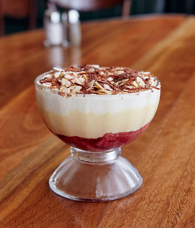 **** Last but not least: the chocolate-topped strawberry and rhubarb trifle.