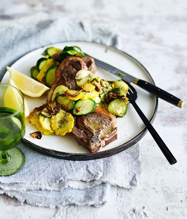Lamb chops with squash trifolati