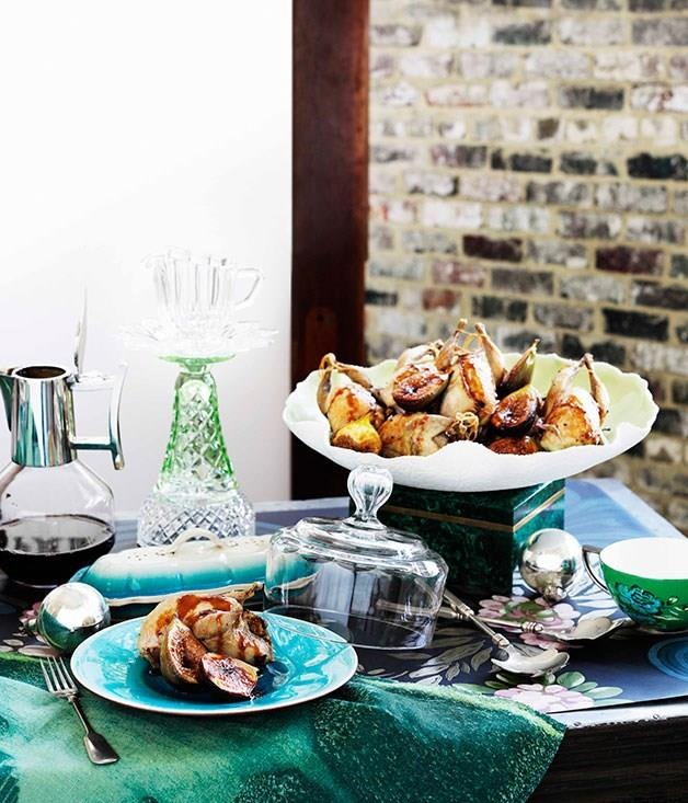 **Roast Quail With Caramelised Fig And Sherry Stuffing**