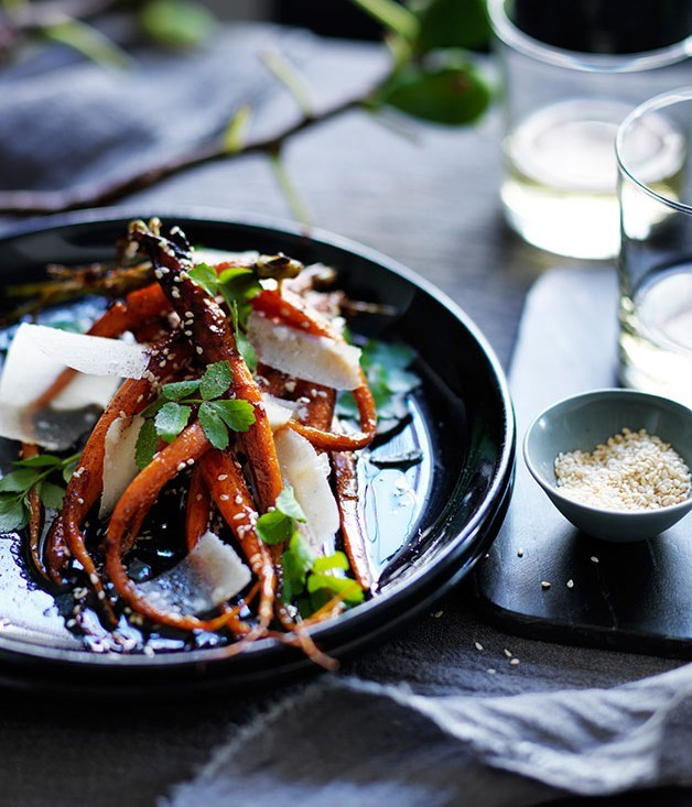 **Roast Carrots With Honey, Sesame And Parmesan**