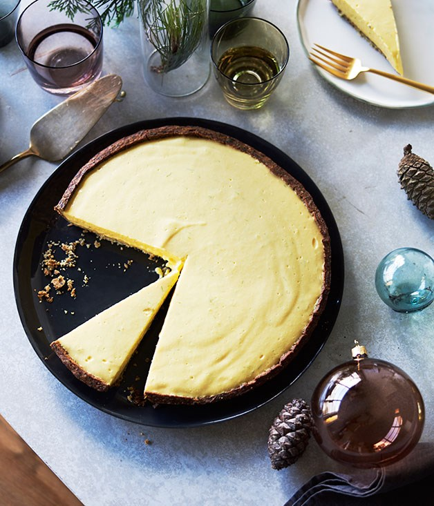 Black sesame and mango tart