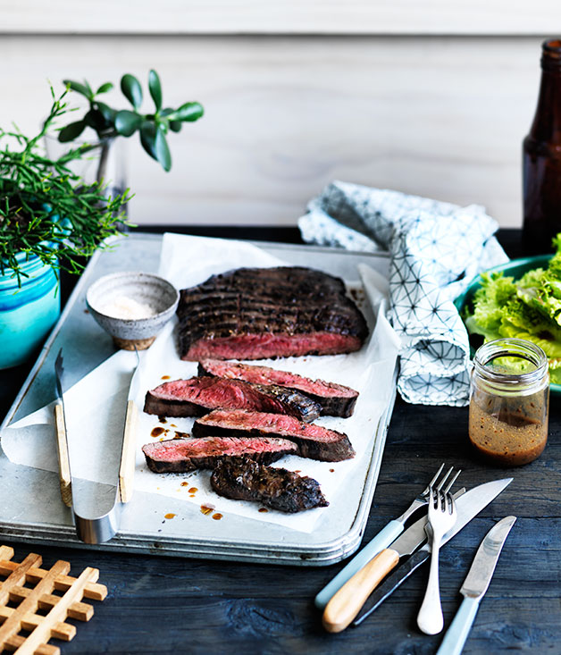 "[**Grilled flank steak**](https://www.gourmettraveller.com.au/recipes/chefs-recipes/grilled-flank-steak-8366|target=""_blank"")"