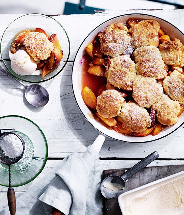 Cast-iron peach cobbler with buttermilk ice-cream