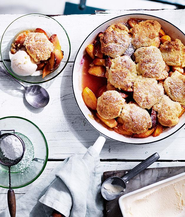"**[Cast-iron peach cobbler with buttermilk ice-cream](https://www.gourmettraveller.com.au/recipes/chefs-recipes/cast-iron-peach-cobbler-with-buttermilk-ice-cream-8367|target=""_blank""