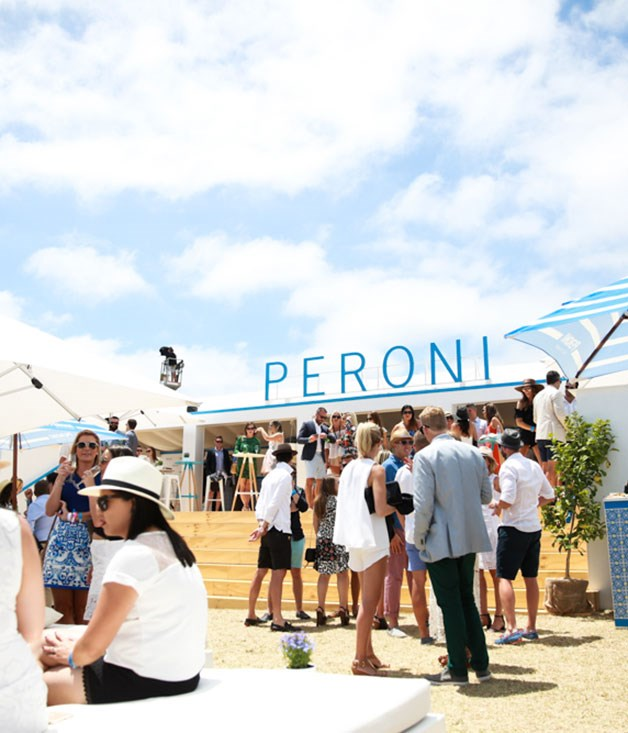 **Peroni marquee** Guests mingle under perfect blue skies at the custom-built Peroni marquee.