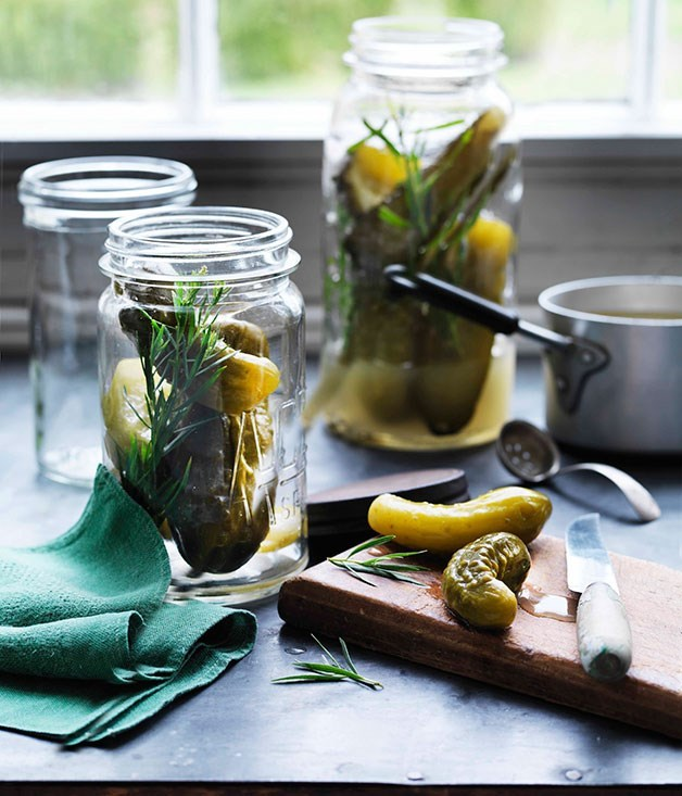 "[**Tarragon cucumber pickles**](https://www.gourmettraveller.com.au/recipes/browse-all/tarragon-cucumber-pickles-11413|target=""_blank"")"