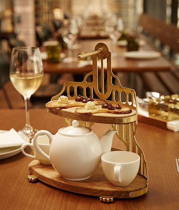 "**** The ""English breakfast tea and toast"" consists of wild mushroom tea, a gentleman's relish and bone marrow on toast."