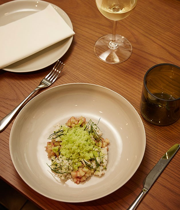 **** Queensland spanner crab with a frozen cucumber gazpacho and rhubarb.
