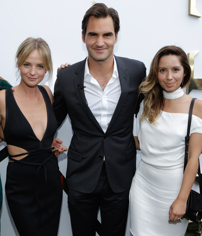 **** Roger Federer with fashion bloggers Nadia Fairfax (left) and Jasmin Howell (right).