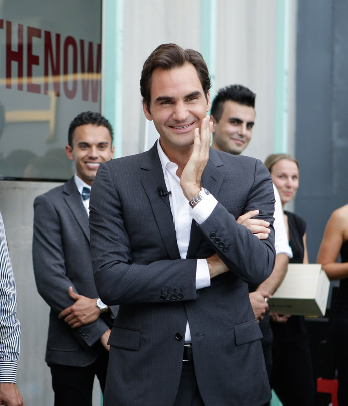 **** Roger Federer mingles with guests at Mon Bijou.