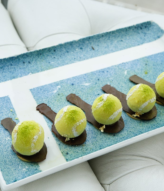 **** A playful tennis-themed canapé from chef Christy Tania.