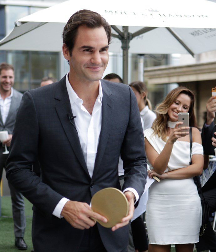 **** Federer fires up for a match of table tennis against one lucky guest.