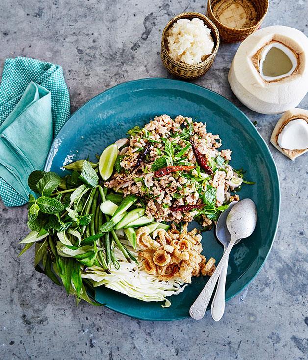 "[Larb gai](http://www.gourmettraveller.com.au/recipes/browse-all/larb-gai-14230|target=""_blank"")"