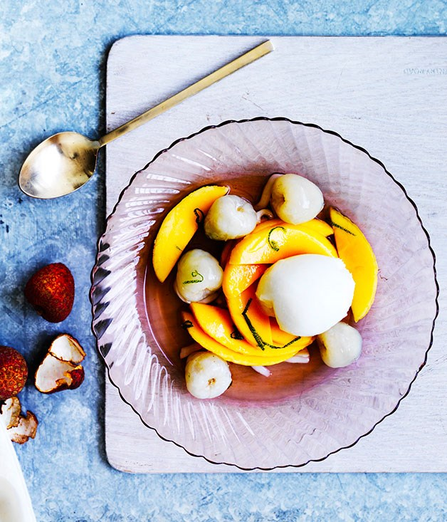**Lychee and mango with lime-coconut syrup and lemon gelato**