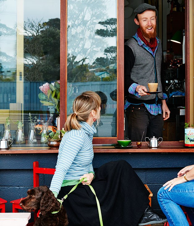 **Barista Mikey Barnard at Mister Jones Espresso in Bermagui**