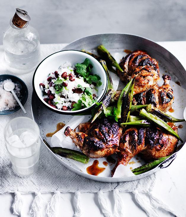 "**[Barbecued chicken with blackened okra](http://www.gourmettraveller.com.au/recipes/fast-recipes/barbecued-chicken-with-blackened-okra-13676|target=""_blank"")**"