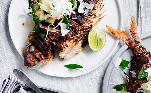 Jerk snapper with pineapple and lime