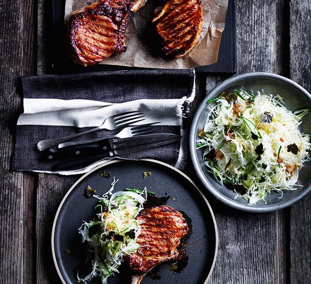 Soy-glazed pork cutlets with Japanese slaw
