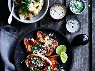 Turmeric pork chops with green chilli and coconut sambal