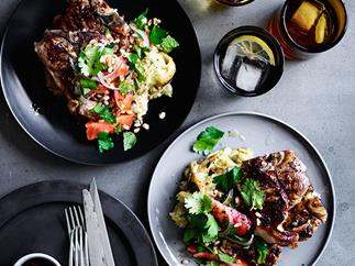 Lamb loin chops with smoky eggplant, and farro and tomato salad