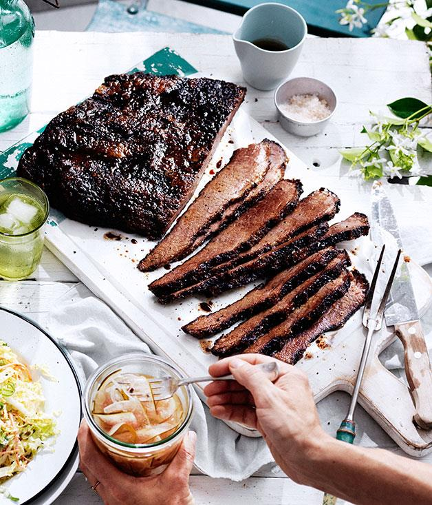 """**[12-hour barbecue beef brisket](https://www.gourmettraveller.com.au/recipes/chefs-recipes/12-hour-barbecue-beef-brisket-8388