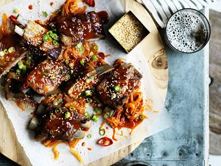 Barbecued lamb ribs with yuzu-sesame yakiniku sauce